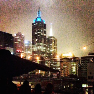 Melbourne skyline from Rooftop Bar