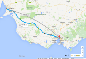 Melbourne to Adelaide driving route