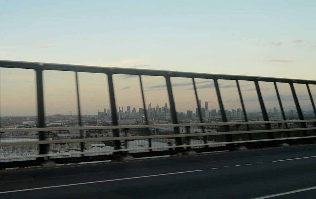 Melbourne to Adelaide drive, Melbourne West Gate bridge city skyline