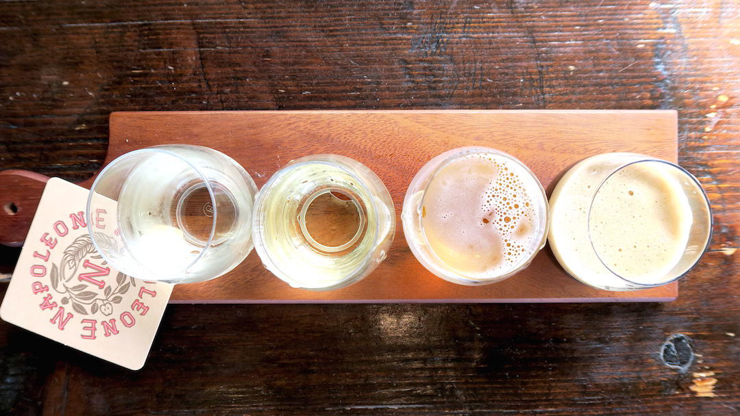 napoleone brewery and cider house tasting paddle, yarra valley