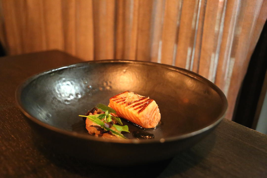 Gastro Park, Potts Point, degustation, course 5 Seared salmon, with pomelo, finger lime and basil