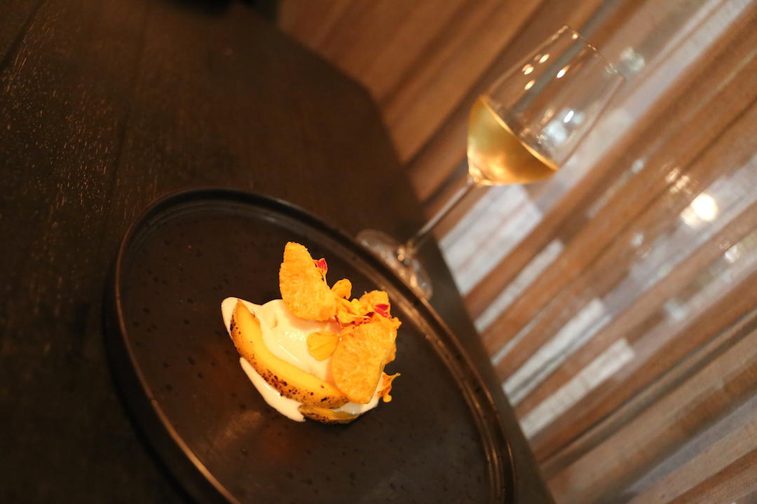 Gastro Park, Potts Point, degustation, course 9 wild marigold ice cream and mango