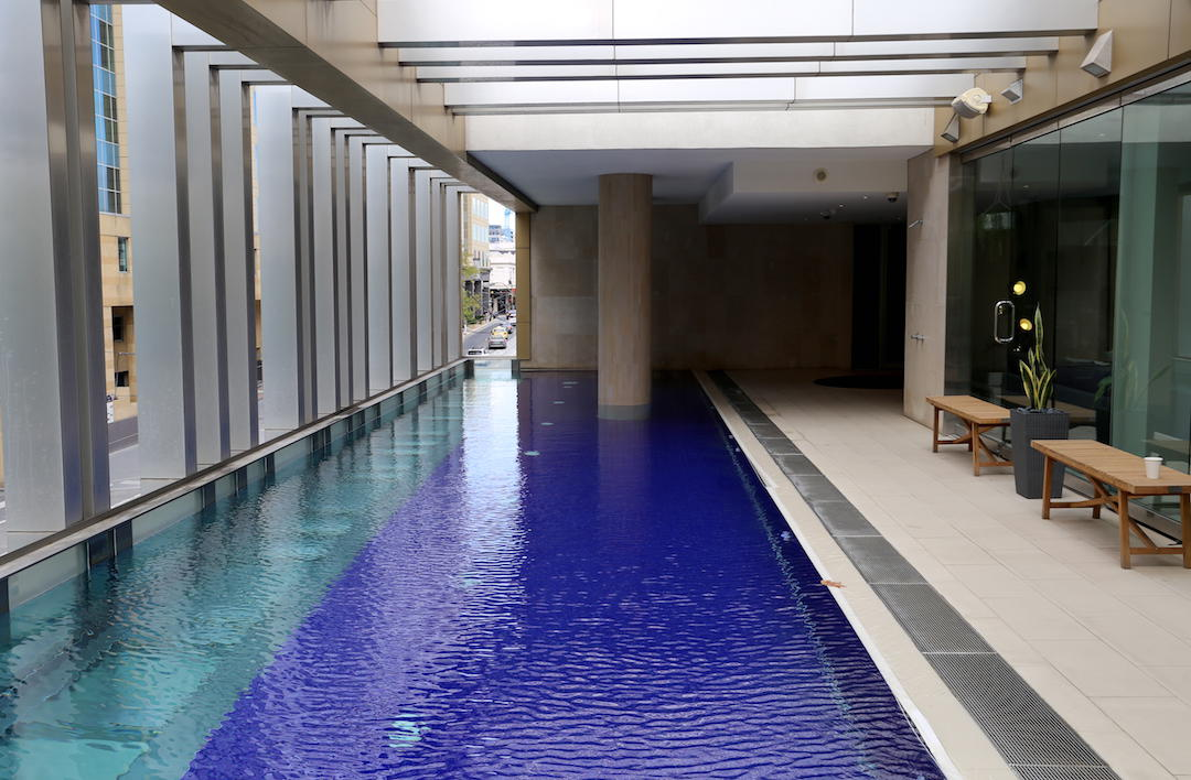 Hotel accommodation swimming pool, The Olsen, Chapel Street, South Yarra, Melbourne