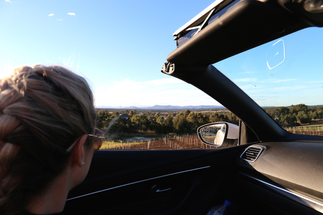 Convertible driving, Bimbadgen Estate Wines, Hunter Valley