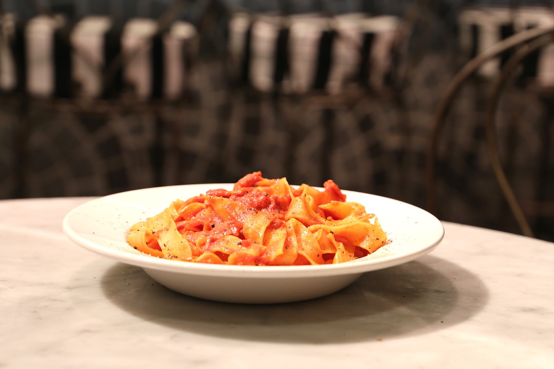 Pappardelle with amatriciana, Ragu Pasta and Wine Bar restaurant, Westfield Sydney, Sydney