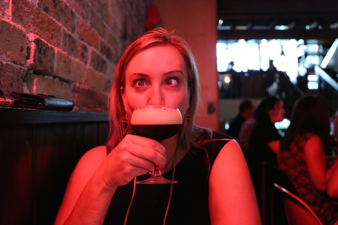 Bel and her espresso martini, Ms Gs, Potts Point, Sydney