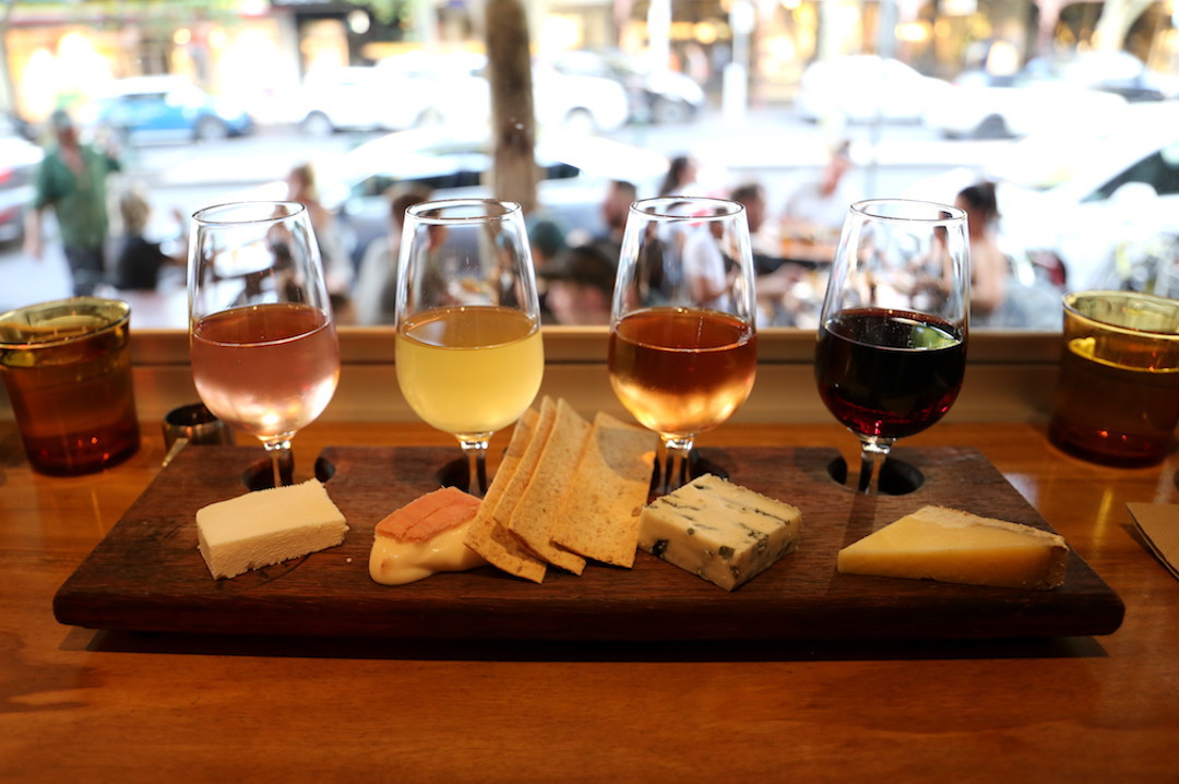 cheese and wine flight, Milk the Cow, Carlton, Melbourne