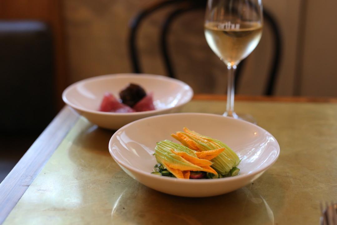 Zucchini flower and tuna, Arthur restaurant, Surry Hills, Sydney